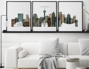 Calgary skyline art set of 3 prints watercolor 2 second