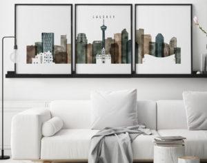 Calgary skyline art set of 3 prints watercolor 2 second