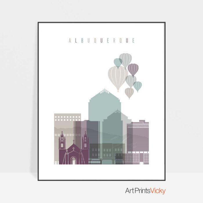 Albuquerque skyline print pastel 2