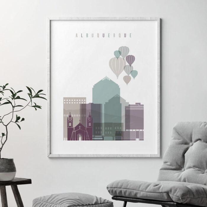 Albuquerque skyline print pastel 2 second