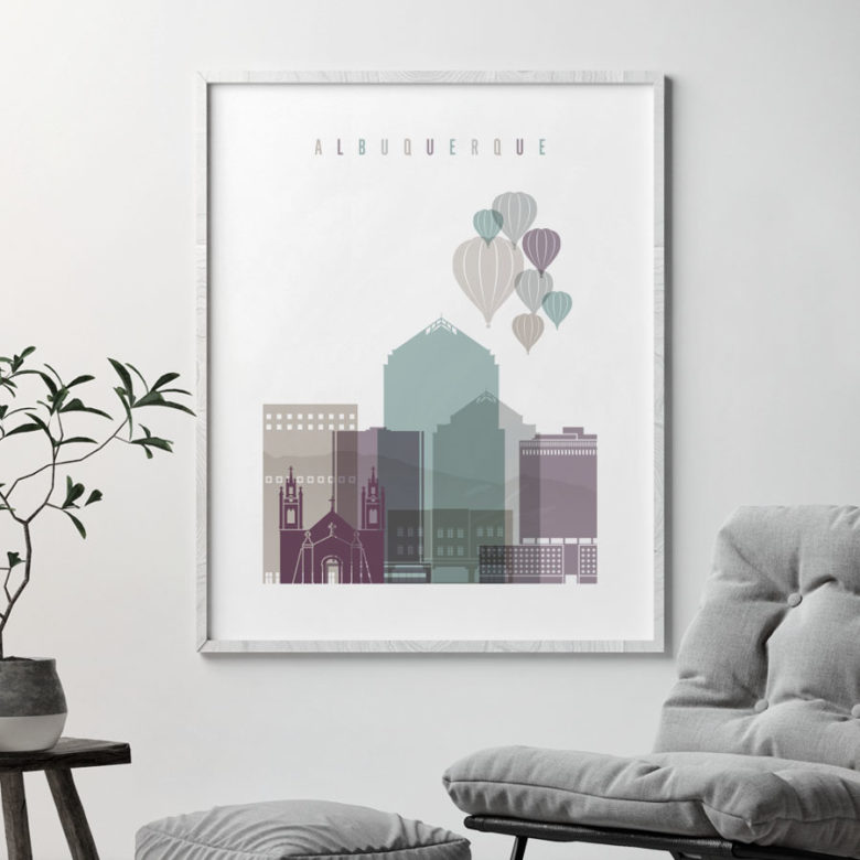 Albuquerque skyline print pastel 2 second