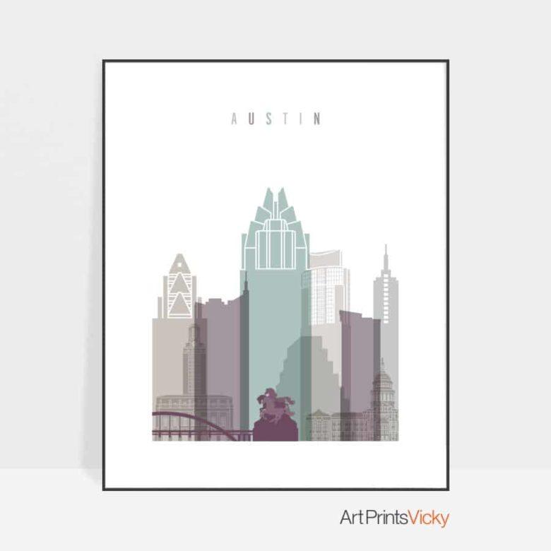 Austin skyline print pastel 2
