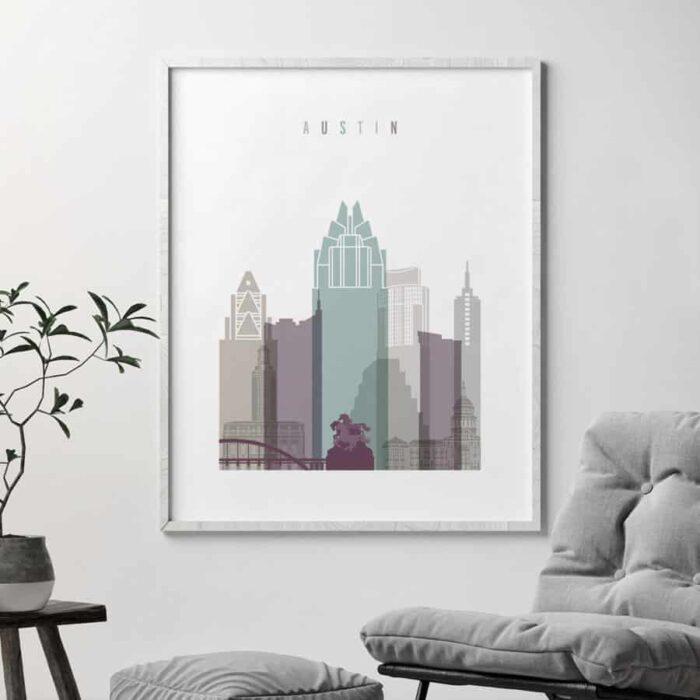 Austin skyline print pastel 2 second