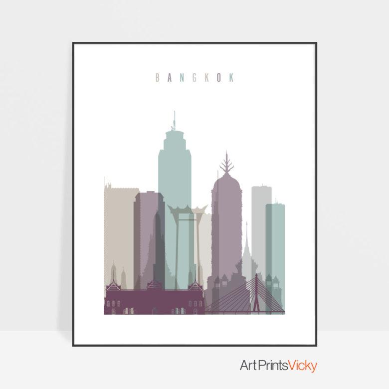 Bangkok skyline print pastel 2