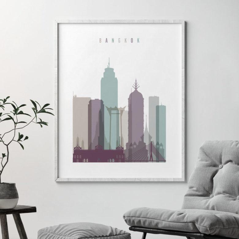Bangkok skyline print pastel 2 second