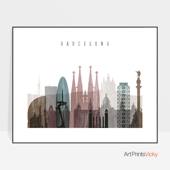 Barcelona print landscape distressed 1