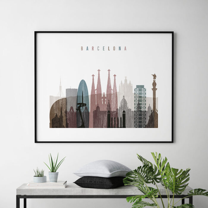 Barcelona print landscape distressed 1 second
