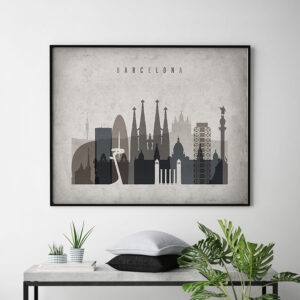 Barcelona art print landscape retro second