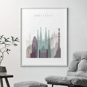 Barcelona skyline poster pastel 2 second