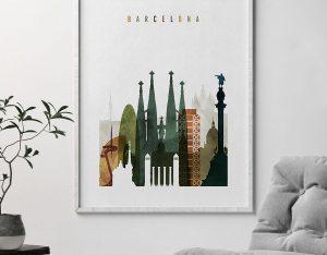 Barcelona art print watercolor 3 second