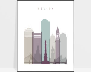 Boston skyline print pastel 2