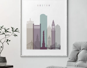 Boston skyline print pastel 2 second