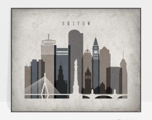 Boston art print landscape retro
