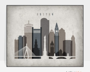 Boston art print landscape retro