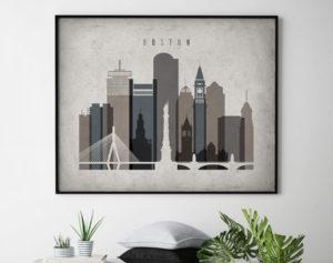 Boston art print landscape retro second