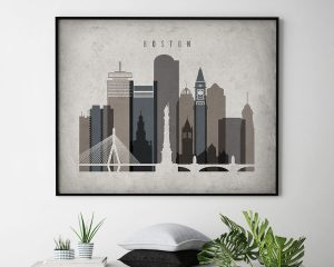 Boston art print landscape retro second