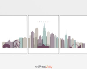 Chicago skyline art set of 3 prints pastel 2