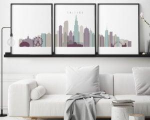 Chicago skyline art set of 3 prints pastel 2 second