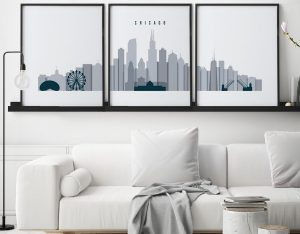 Chicago wall art set of 3 prints grey blue second