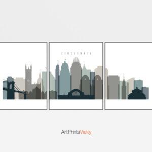 Cincinnati set of 3 prints skyline earth tones 4