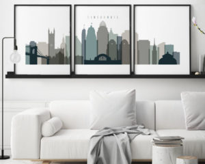 Cincinnati set of 3 prints skyline earth tones 4 second