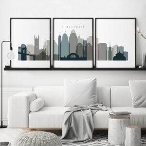 Cincinnati set of 3 prints skyline earth tones 4 second