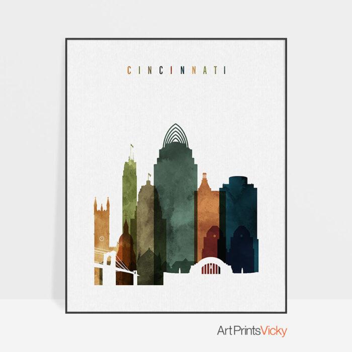 Cincinnati skyline print watercolor 3