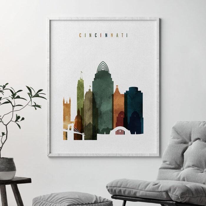 Cincinnati skyline print watercolor 3 second