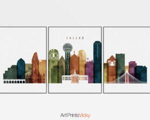 Dallas wall art set of 3 prints watercolor 3