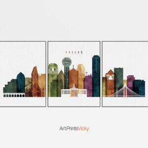 Dallas Skyline 3 Prints Set Watercolor 3