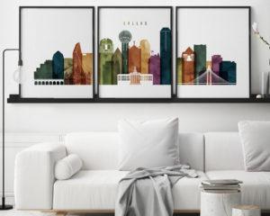 Dallas wall art set of 3 prints watercolor 3 second