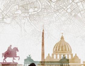 Rome map print poster watercolor 1 detail