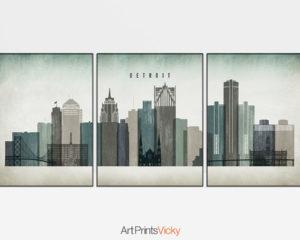 Detroit skyline set of 3 prints distressed 3