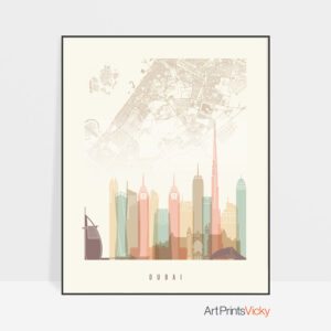 Dubai map skyline poster pastel cream