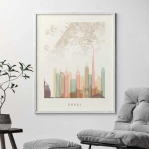 Dubai map skyline poster pastel cream second