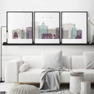El Paso Skyline 3 Prints Set Pastel 2 second