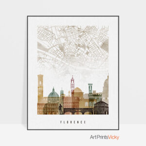 Florence map skyline poster watercolour 1