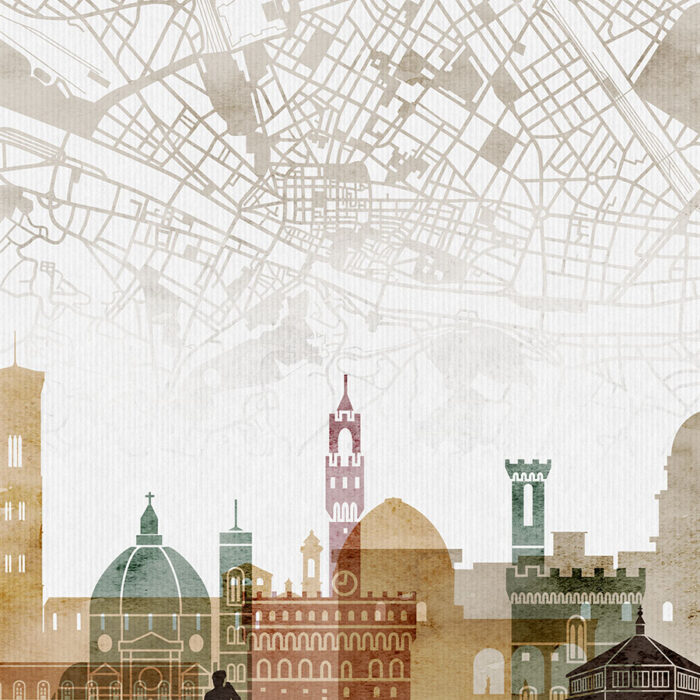 Florence map skyline poster watercolour 1 detail
