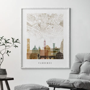 Florence map skyline poster watercolour 1 second