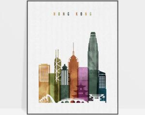 Hong Kong skyline print watercolor 3