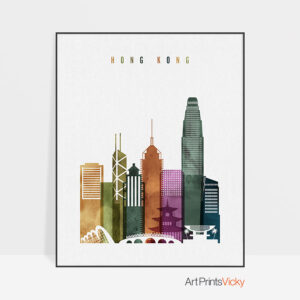 Hong Kong skyline print watercolor 3