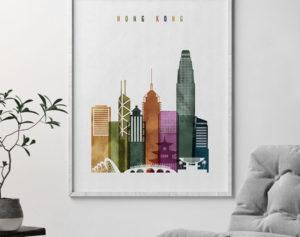 Hong Kong skyline print watercolor 3 second