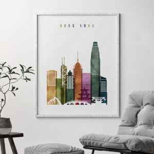 Hong Kong skyline print watercolor 3 second