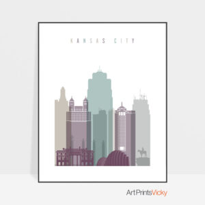 Kansas City skyline poster pastel 2