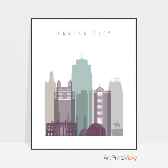 Kansas City skyline poster pastel 2