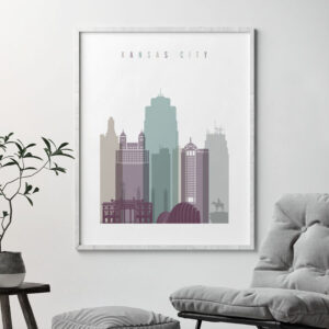 Kansas City skyline poster pastel 2 second