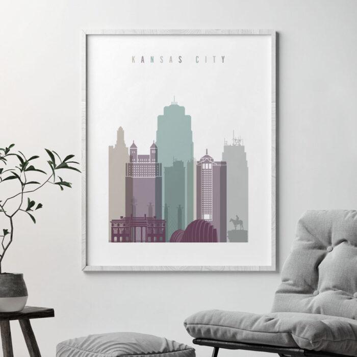 Kansas City skyline poster pastel 2 second