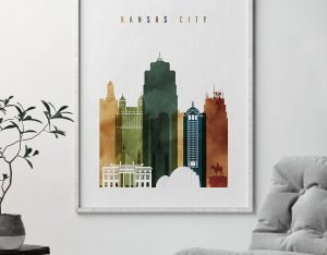 Kansas City skyline print watercolor 3 second