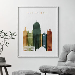 Kansas City skyline print watercolor 3 second