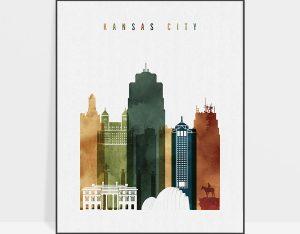 Kansas City skyline print watercolor 3